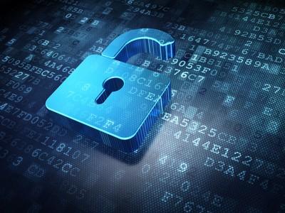 Security concept: blue opened padlock on digital background, 3d render