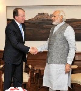 The Chairman, CISCO, Mr. John Chambers calls on the Prime Minister, Shri Narendra Modi, in New Delhi on March 18, 2016.