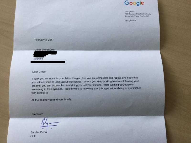 Sundar Pichai, CEO, Google responds to 7-yr old Chloe Bridgewater