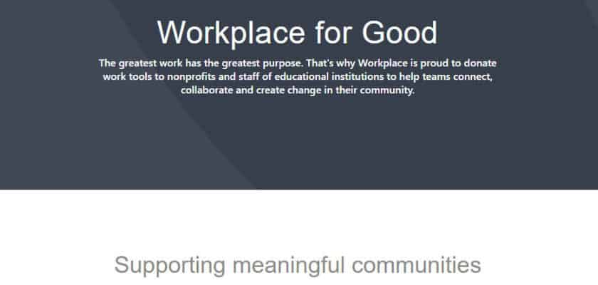 Facebbok Workplace for Good